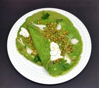 crepes integrali agli spinaci con piselli ricotta e limone (13)
